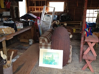 Cape Cod garage junk removal. Before.